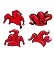 Colorful red jester hats vector image