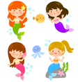 cute cartoon mermaids vector image vector image