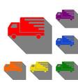 delivery sign set red orange vector image vector image