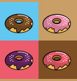 donuts different flavors background vector image