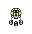 dreamcatcher flat color icon isolated on white vector image