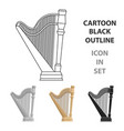 harp icon in cartoon style isolated on white vector image vector image
