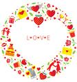 Heart Shape Love Icons Wreath vector image vector image