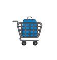 icon concept shopping bag inside shopping cart vector image vector image