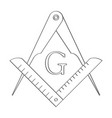 icon with masonic square and compasses vector image vector image
