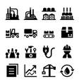 industrial factory icon set vector image