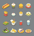 isometric retro flat fast food icons and symbols vector image