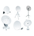 isometric set satellite dish antennas on white vector image vector image