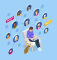 isometric social network concept woman laptop vector image