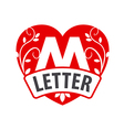 logo in the shape of a heart with the letter M vector image vector image