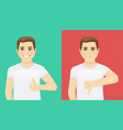 man showing thumb up and thumb down vector image vector image