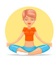 meditation cute female girl yoga tranquility vector image vector image