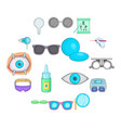 ophthalmologist icons set cartoon style vector image vector image