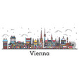 outline vienna austria city skyline with color vector image