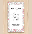 save date card with hearts pattern background vector image vector image