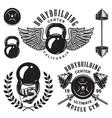 set bodybuilding emblems vector image
