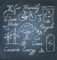set ecology icons and lettering on chalkboard vector image vector image