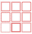set square romantic frames with hearts vector image vector image