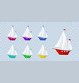 ship yacht sailboat isolated object set of vector image