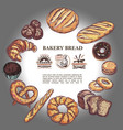 sketch bakery products round concept vector image vector image