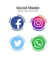 social media logo set vector image vector image