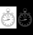 stop watch black and white drawing vector image