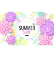 summer sale banner design with colorful tropical vector image vector image