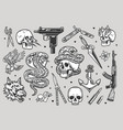 tattoos vintage monochrome collection vector image vector image