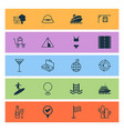 tourism icons set with euro exchange bag on cart vector image