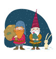two old christmas gnomes and a hare new year card vector image vector image