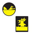 warning sign watch sharks image vector image vector image