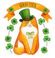 watercolor ginger saint patrick festive cat green vector image