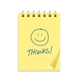 Yellow note paper and smile text vector image