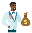 young african-american groom showing a money bag vector image vector image