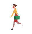 young woman in medical face mask walking vector image