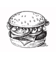 black hand drawn hamburger vector image