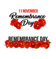 11 november remembrance day poppy icons vector image vector image
