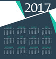 2017 calendar template design with abstract shape vector image vector image