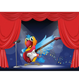A parrot with a guitar at the stage vector image vector image