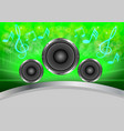 abstract musical with speakers on green gray vector image