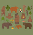 all bear species in one set bears in forest vector image vector image