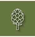artichoke symbol on green background vector image vector image