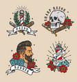 barbershop vintage colorful emblems vector image vector image