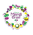Bright carnival icons and sign Welcome to Carnival vector image vector image
