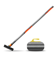 Broom and stone for curling vector image vector image