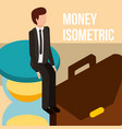businessman on hourglass and briefcase money vector image vector image