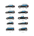 car or automobile body type names flat vector image vector image