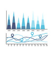 chart with timeline and information years data vector image