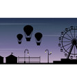 collection stock amusement park scenery silhouette vector image vector image