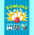 colorful sport bowling clup poster vector image vector image